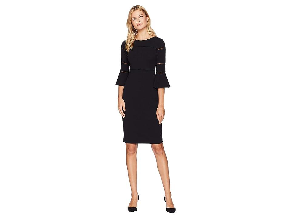Taylor Solid Bell Sleeve Sheath Dress (Black) Women