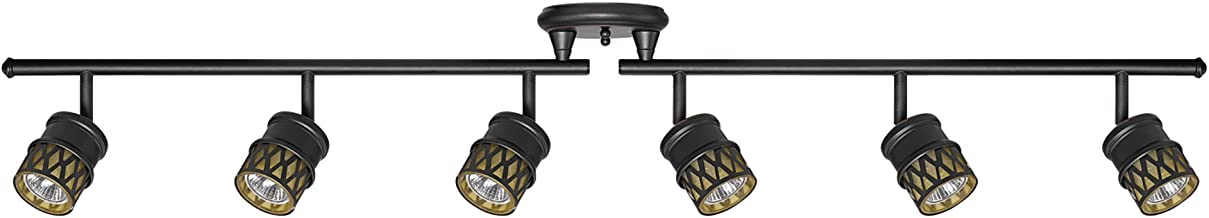 Globe Electric 59086 Kearney 6-Light Foldable Track Lighting, Oil Rubbed Bronze Finish, Champagne Glass Shades, Bulbs Included