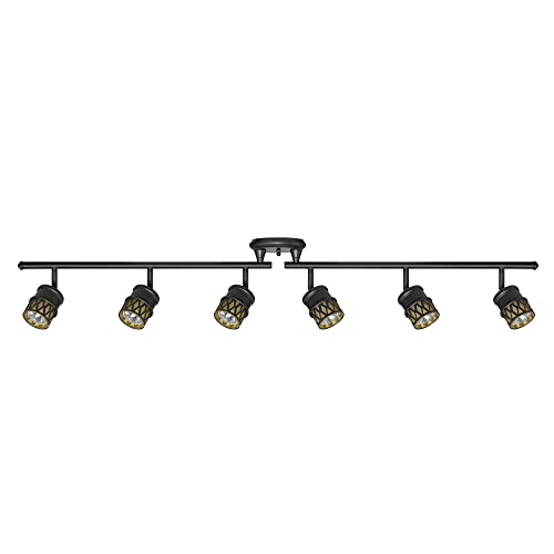 Kitchen track lighting fixtures Ceiling Globe Electric 6light Foldable Track Bar Oil Rubbed Bronze Finish Champagne Glass Amazoncom Kitchen Track Lighting Amazoncom