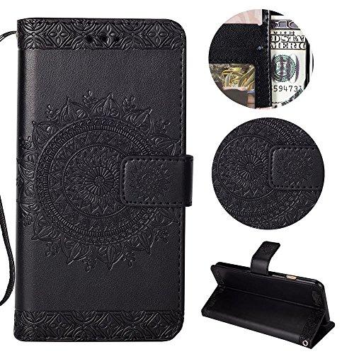 Sycode Galaxy S9 Wallet Hülle,Galaxy S9 Ledertasche,Totem Blumen Schwarz PU Leder Brieftasche für Samsung Galaxy S9-Schwarz