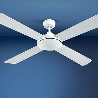 Devanti 52'' 1300mm Ceiling Fan 4 Wooden Blades w/Remote Reversible Fans White