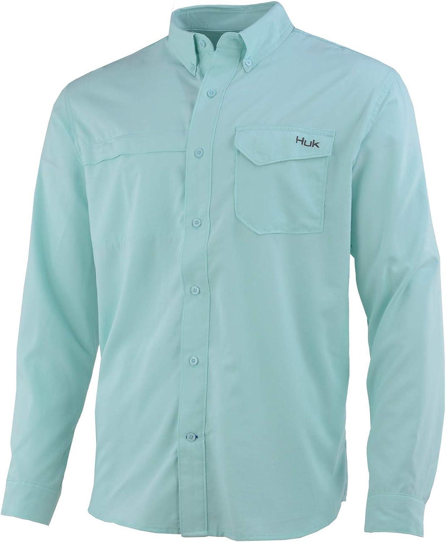 HUK Men's Tide Point Fish Plaid Woven Button Down Long Sleeve Shirt
