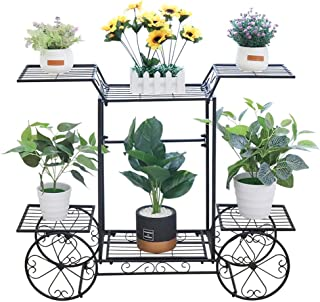 UNHO 6 Tier Plant Stand Cart Metal Plant Ladder Flower Stand Indoor Outdoor Flower Rack Plant Display Stand for Home Garde...