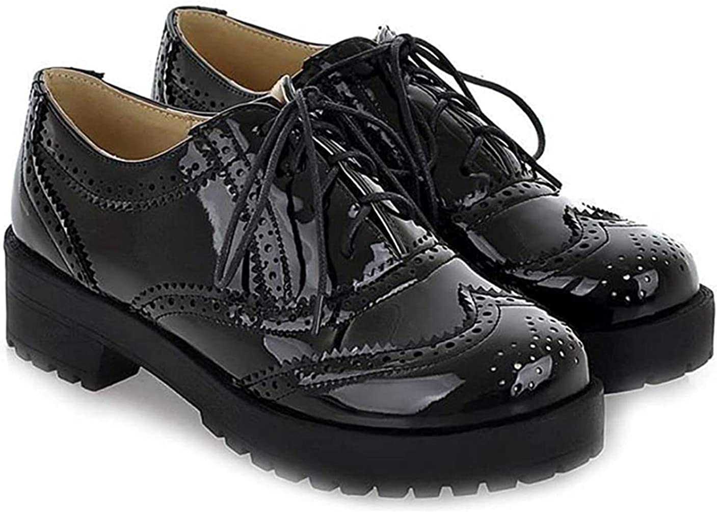 Women's Classic Flat Saddle Oxford Shoes Max 43% OFF Up Comfort 67% OFF of fixed price Lace Low Hee