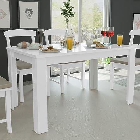Festnight Table de Salle à Manger en Bois Blanc 140 x 80 x 75 cm