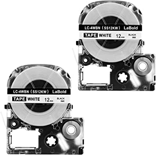 LaBold LK 4WBN LC 4WBN LC 4WBN9 SS12KW Label Tapes Cartridge Compatible for Epson LabelWorks LW300 LW400 LW500 LW600P LW700, Black on White,1/2 Inch X 26.2 Feet,2Pack