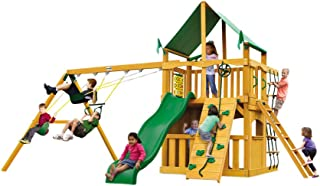 Gorilla Playsets Chateau Clubhouse Swing Set w/Natural Cedar and Deluxe Green Vinyl Canopy