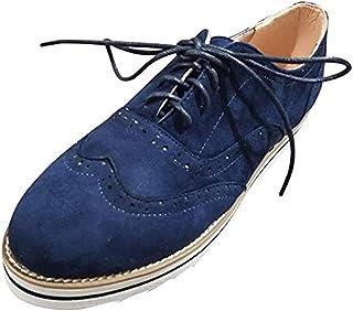 1d40d2f1 Zapatos Oxford Mujer Casual Derby Cordones Calzado Plano Vestir Brogue  Primavera Verano Casual Uniforme Trabajo Sneaker