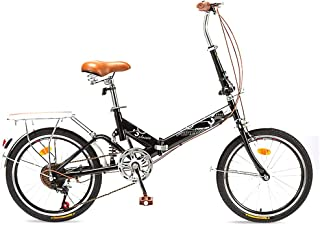 ZYD Bicicleta Plegable para Adultos Hombres y Mujeres Mini Bicicleta Plegable Ligera de 6 velocidades con Freno en V