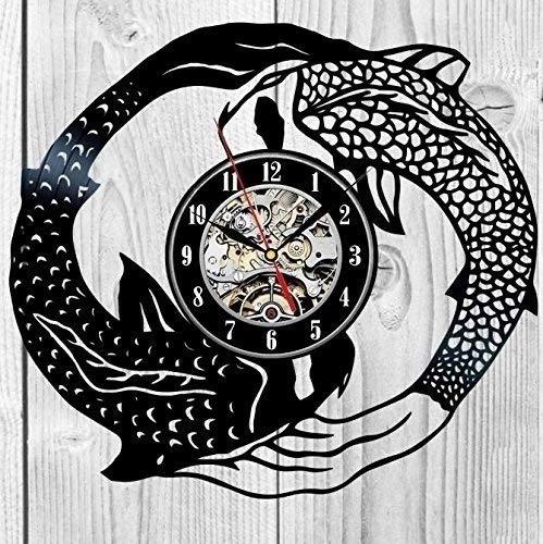 xiaoxong658 Reloj De Pared De Vinilo Reloj De Pared con Disco De Vinilo De Peces Hombres Y Mujeres Niños Adultos Diseño Artístico Único Creativo Sala De Estar Decoración del Hogar 30 × 30 Cm