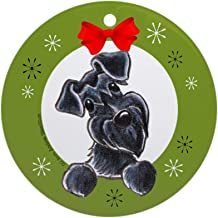 Xmas Decorative Hanging Ornament for Christmas Tree, Porcelain - Black Miniature Schnauzer Lover Christmas Ornament Round Holiday Christmas Ornament