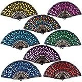 8pcs Abanicos Boda de Mano Plegables Espaol Flamenco Baile Negro con Patrones de Colores Distintos para Regalo Recuerdo Mujer Novia Invitados Detalle Boda Fiesta Baile Arte Material Plstico Tela (B)