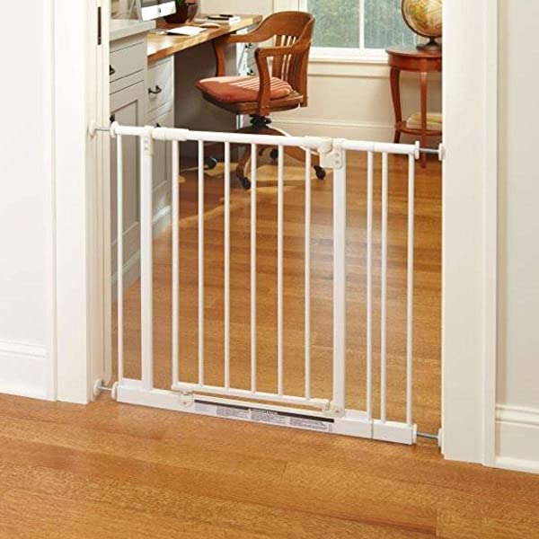 North States 38 5 Wide Easy Close Baby Gate The Multi Directional Swing Gate With Triple Locking System Ideal For Doorways Or Between Rooms Pressure Mount Fits 28 38 5 Wide 29 Tall White
