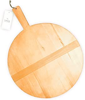 Chloe and Cotton Large Round Pine Wood Bread Board 17 inch diameter | Kitchen decorative countertop hanging wooden tray, serving, charcuterie, cheese board