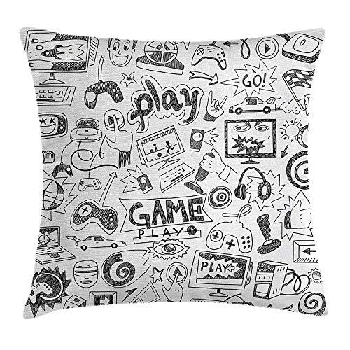 Jupsero Fundas de Almohada Videojuegos Throw Pillow Cojín, Monocromo Sketch Style Diseño de Juegos Racing Monitor Dispositivo Gadget Teen 90' s, Cojín Decorativo Funda de Almohada Sofá 18 'x