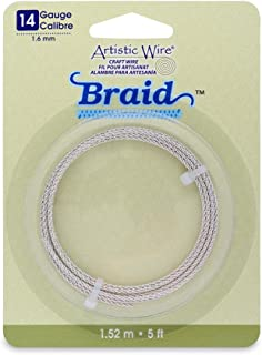 Artistic Wire 14-Gauge Tarnish Resistant Round Braided Jewelry Making Wire, 5-Feet, Silver