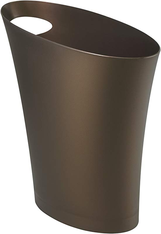 Umbra Skinny Sleek Stylish Bathroom Trash Small Garbage Can Wastebasket For Narrow Spaces At Home Or Office 2 Gallon Capacity Bronze