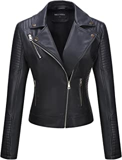 Women's Faux Leather Jacket,Moto Casual Short Coat for Spring and Fall