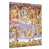 Wandbild Michelangelo Jüngstes Gericht II - 50x70cm hochkant - Alte Meister Berühmte Gemälde Leinwandbild Kunstdruck Bild auf Leinwand