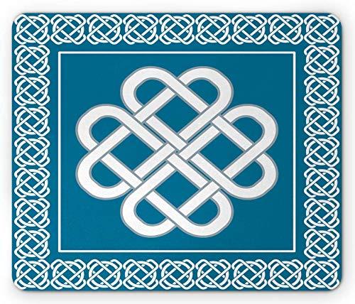 Tappetino per mouse irlandese, celtico nodo damore simbolo di buona fortuna, bordo, disegno del bordo, rettangolo tappetino antiscivolo in gomma Aqua scuro - 10,3x 8,3 Inch