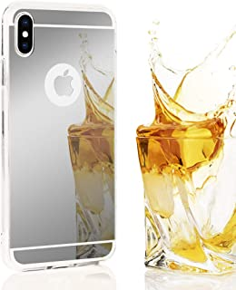 NALIA Mirror Case Compatible with iPhone Xs Max, Ultra-Thin Shiny Protective Selfie Silicone Cover, Slim-Fit Shockproof Protector with Reflective Back, Smart-Phone Bumper Skin Etui, Color:Silver