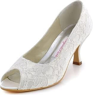 Women Peep Toe Pumps Comfort Heel Lace Wedding Bridal Dress Shoes