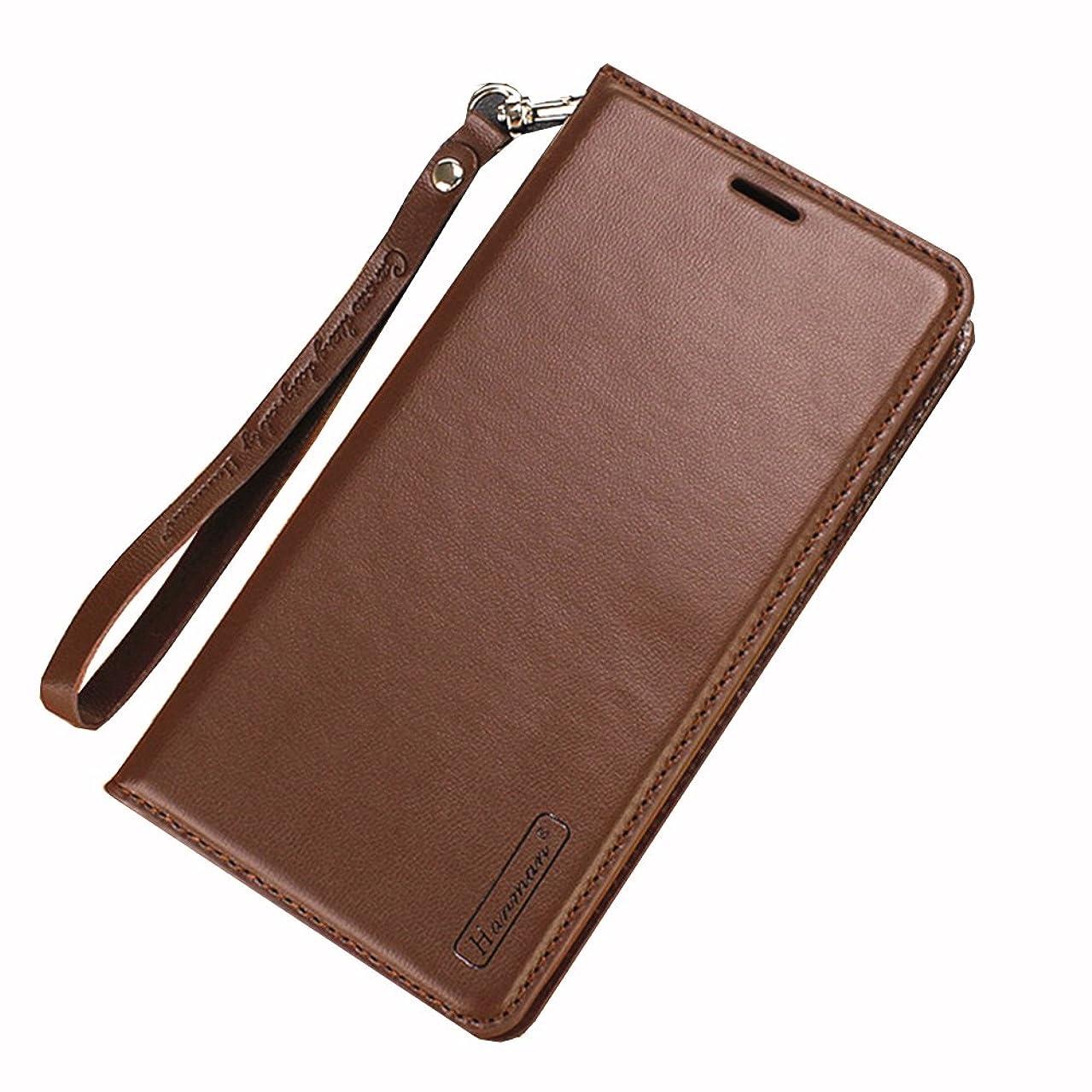 鮫背骨行くSimonJp iPhone X ケース 手帳型 スタンド機能 カードポッケト ストラップ 落下防止 衝撃吸収 財布型 人気 おしゃれ ブラウン