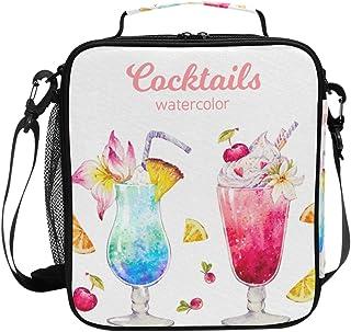 Aquarelle Summer Cocktail Sac à déjeuner isotherme carré portable Grande capacité Voyage pique-nique école Sac à main glac...