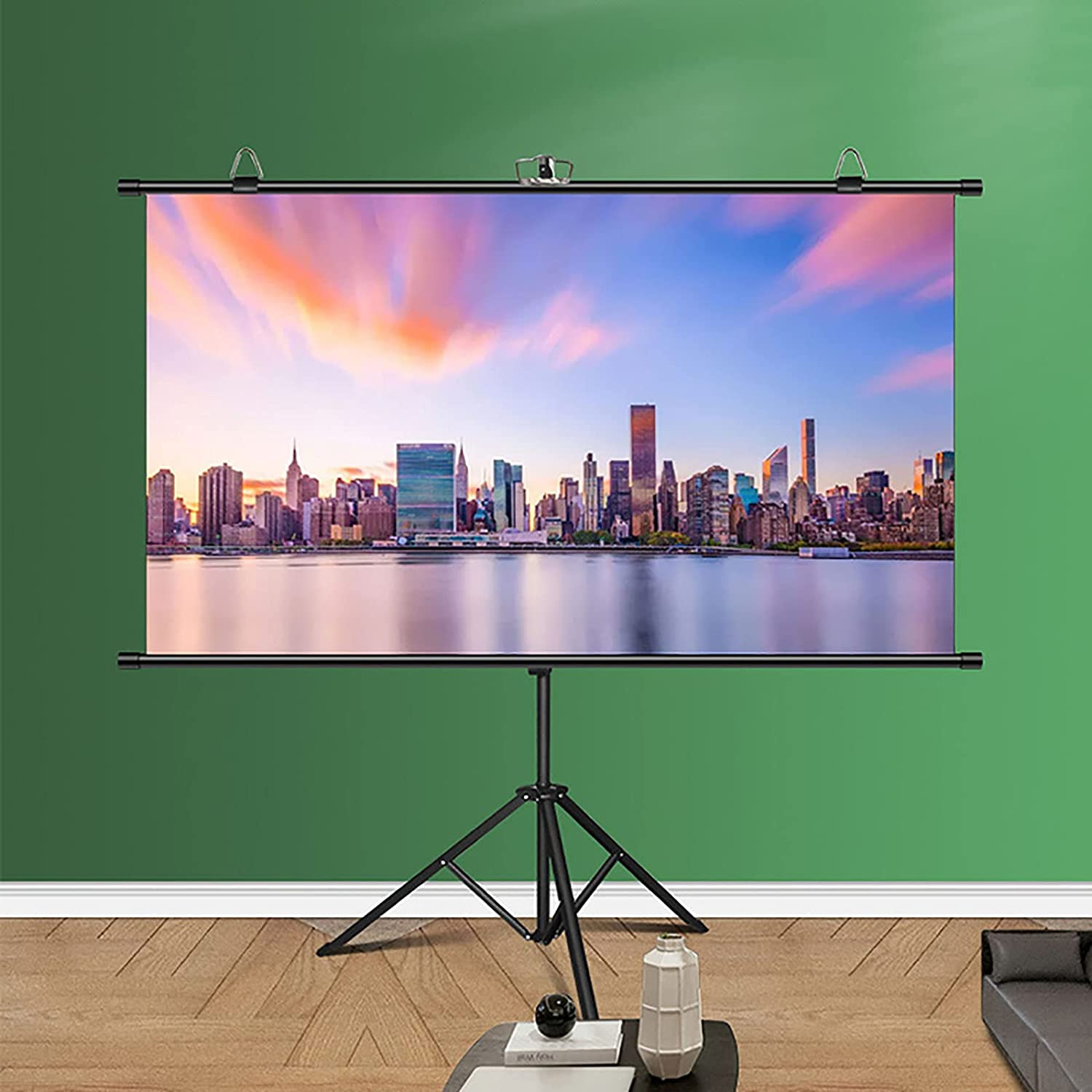YFF-Corrimano Portable Projector Screen with Tripod - 4:3/16:9 HD Wrinkle-Free Tripod Screen Mobile Projection Screen, for Schools Meeting Conference Indoor Outdoor Use
