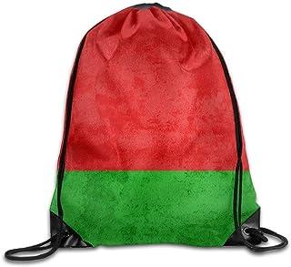 Belarus Flag Gym Beam Port Drawstring Shoulder Travel Canvas Backpack Bag