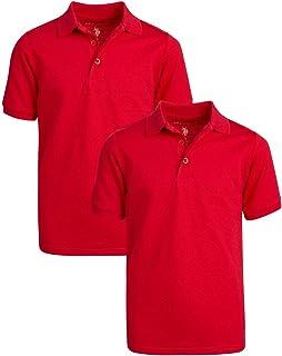 U.S. Polo Assn. Boys' School Uniform Shirt - Pique Short Sleeve Polo T-Shirt (2 Pack), Size 14/16, Red
