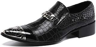 YIZHIYA Chaussures en Cuir Pointues pour Hommes,Chaussures d'uniformes habillées Homme en Cuir de Vachette véritable de St...