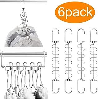 MeetU Closet Organizer 9.5 Inch Cloth Hanger Magic Space Saving Hangers for Closet Wardrobe Closet Organization Closet System (Pack of 6)