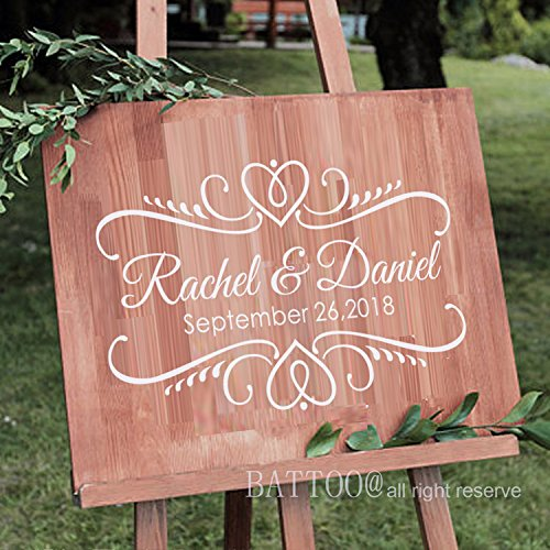 """BATTOO Wedding Decal Vinyl Decal Personalized Decal for Chalkboard Dance Floor Personalized Wedding Decor Custom Wedding Decal DIY Wedding Sign 12"""" wx7.5 h PLUS free hello door decal"""