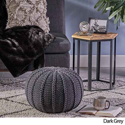 Christopher Knight Home Agatha Knitted Cotton Pouf, Dark Grey