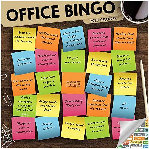 Office Bingo Calendar 2020 Set - Deluxe 2020 Funny Office Bingo Wall Calendar with Over 100 Calendar Stickers (Funny Gifts, Office Supplies)