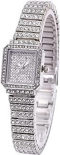 MINILUJIA Luxury Women's Quartz Analog Artificial Diamond Shining Bling Starry Sky Square Dial Dress Wrist Watches