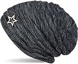 styleBREAKER warme Feinstrick Beanie Mütze mit Wellen Muster und Schmuck Stern, sehr weiches Fleece Innenfutter, Unisex 04024099, Farbe:Grau-Schwarz