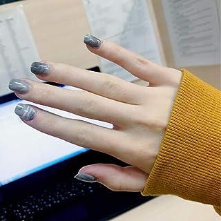 Adflyco False Nail Glossy Fake Nail Gray Marble Art Accessories Short Square Nails Full Cover Press on Nails Tips for Women and Girls(24Pcs)