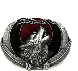 Native American Western Cowboy Howling Wolf Belt Buckle for Men Moon Feather Wolf Head