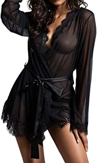 ad9661fe939 Yandy Women s Lace Sheer Mesh Bodice Robe Set Matching G-String Included