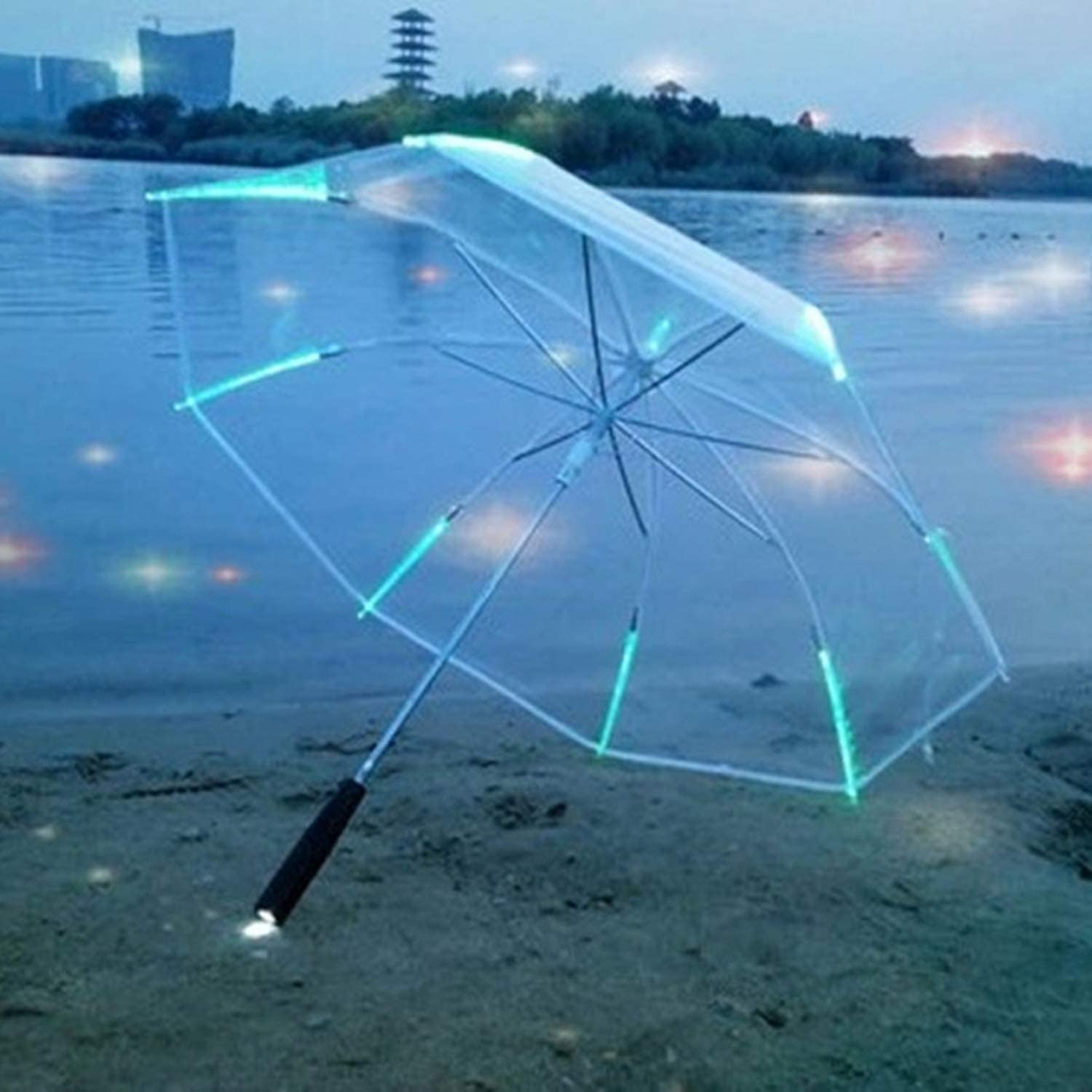 Changing color LED Umbrella with Flashlight Transparent 8 Rib Long Handle Straight Umbrella Parasol Wholesale