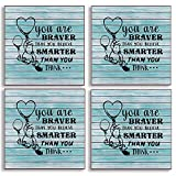 You are Braver Than You Believe, Inspirational Winnie The Pooh Quotes Coasters for Drinks with Cork Backing, Coffee Tea Drinks Lover Gifts