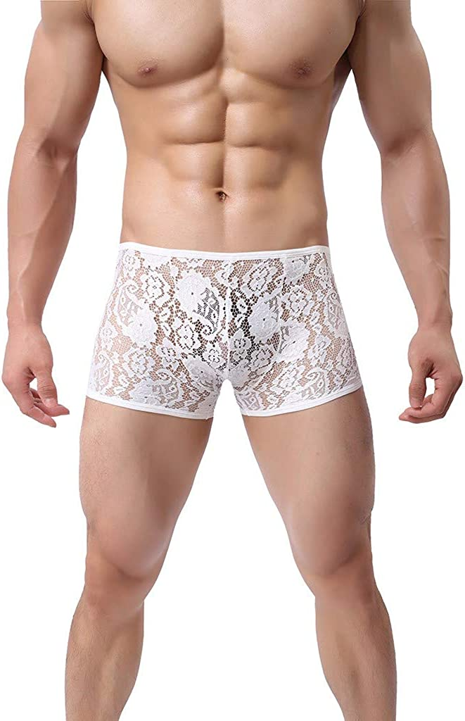 Sexy Lace Boxer Briefs for Men,Comfortable Underwear Sheer Low Rise Bikini Trunks Breathable Swimwear Panties by Leegor