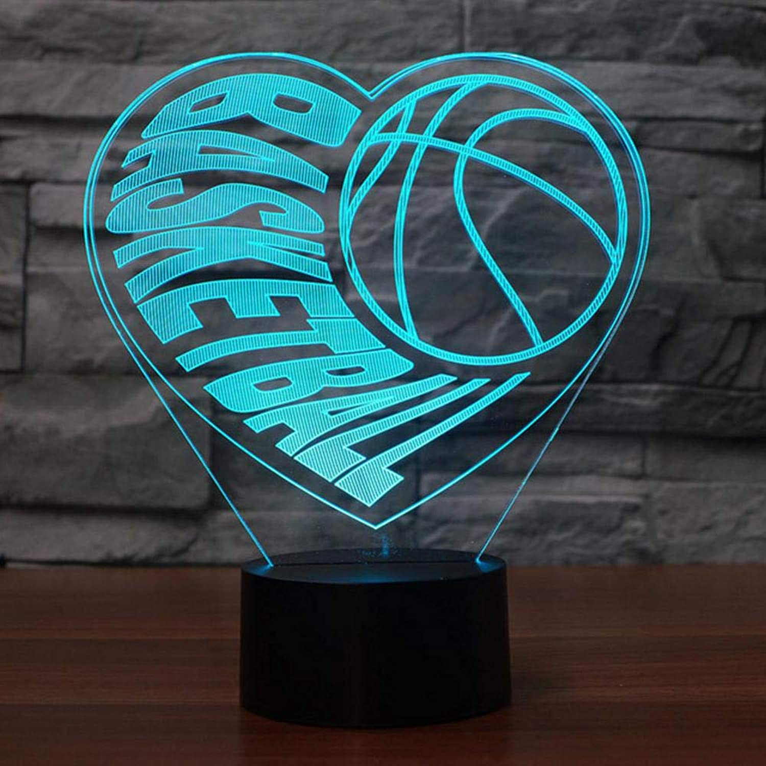 Rtfc 3D Visual Illusion Heart Basketball Led Transparent Acrylic 3D Night Light Led Lampa 7 color Changing Touch