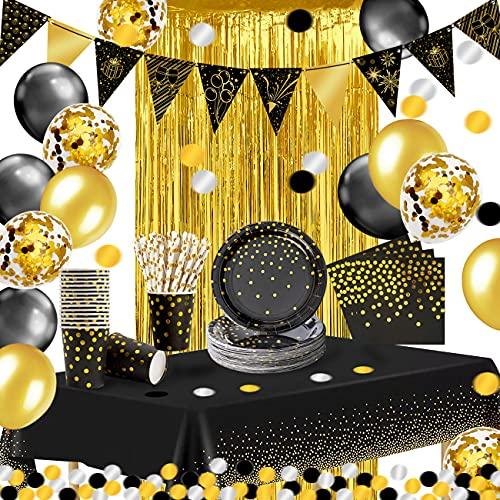 iZoeL Vaisselle Jetable Anniversaire Or Noir, Ballon Anniversaire Nappe Rideau Bruant Serviettes Papier Ballon Assiettes Tasses Paille 10g Confettis, Décor Anniversaire Fille Homme Femme Mariage