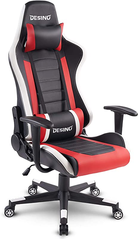 DESINO Gaming Chair Racing Style Home Office Ergonomic Swivel Rolling Computer Chair With Headrest And Adjustable Lumbar Support Red