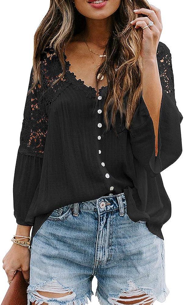 VENTELAN Women's V Neck Lace Crochet Blouse Tops Loose Flowy Bell Sleeve Button Down T Shirts