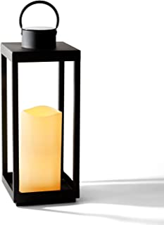 Large Outdoor Lantern with Solar Candle - 18 Inch Tall, Matte Black Metal Frame, Waterproof Flameless Pillar Candle, Dusk ...