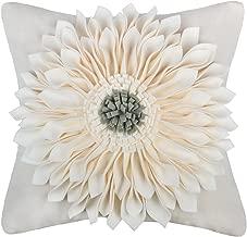 OiseauVoler 3D Sunflowers Handmade Throw Pillow Cases Faux Wool Decorative Cushion Covers Canvas Pillowcases Home Sofa Car Bed Room Decor 18 x 18 Inch Creamy White